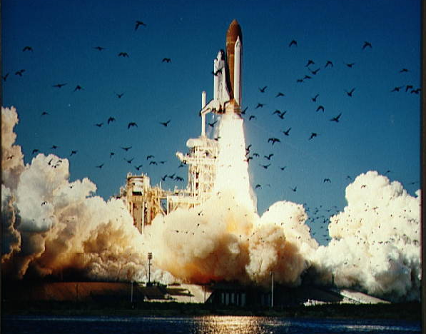 NASA photo: The Space Shuttle Challenger lifts off in 1986